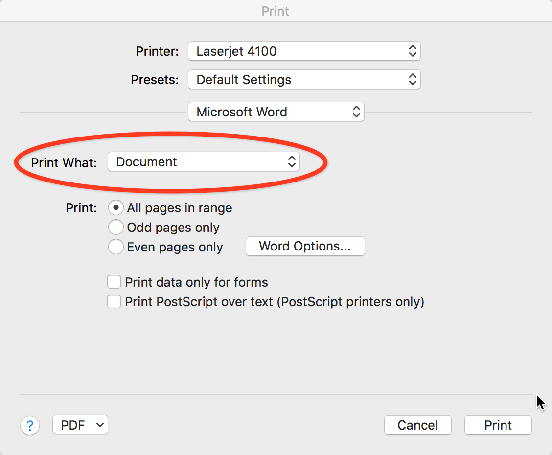 print word to pdf without comments